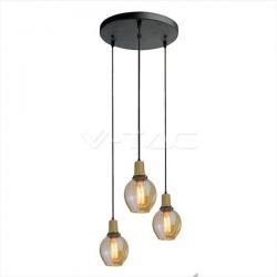 Τριπλό κρεμαστό φωτιστικό Γυαλί & μέταλλο με Μαύρο και Amber σώμα με ντουί Ε27 Kωδικός: 3926