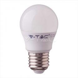 Λάμπα led v-tac σφαιρική Ε27 4.5watt 230v/ac θερμό λευκό 3000Κ 470lumen με samsung chip Κωδικός: 261