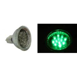 Λάμπα led mr11 με 15 led 12v ac/dc 0.8watt ντιμαριζόμενη 30° πράσινη Ø 35mm