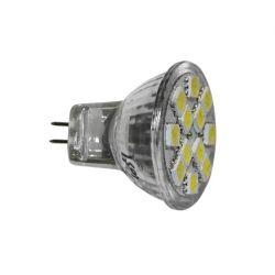 Λάμπα γυάλινη  mr11 με 12 led smd5050 1.8watt  12v ac/dc  120° 140 lumen θερμό λευκό 3000Κ