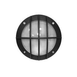 Φωτιστικό πλαφονιέρα αλουμινίου στρογγυλή μαύρη με πλέγμα Ø 150mm στεγανή ip54 για λάμπες GX53