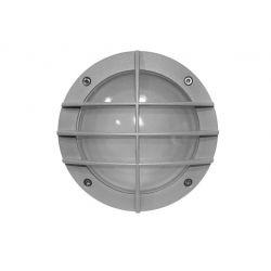 Φωτιστικό πλαφονιέρα αλουμινίου στρογγυλή γκρί με πλέγμα Ø 150mm στεγανή ip54 για λάμπες GX53