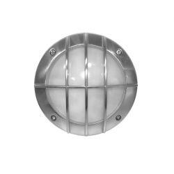Φωτιστικό πλαφονιέρα αλουμινίου στρογγυλή σατινέ με πλέγμα Ø 150mm στεγανή ip54 για λάμπες GX53