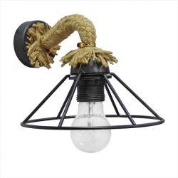 Φωτιστικό Heronia Lighting τοίχου μαύρο μονόφωτo με τριχιά UT-350AP Φ19 ROPE(ντουί ε27) Κωδικός : 31-0931