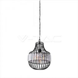 Κρεμαστό φωτιστικό v-tac vintage W/Crystal (bottom) μαύρο μονόφωτο (ε27 ντουί) Κωδικός: 3957