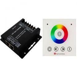 Ασύρματο dimmer αφής χωνευτής & επίτοιχης τοποθέτησης με δέκτη για ταινίες Led 12-24V RGB Κωδικός: SMARTRGBT/SMARTRGBR