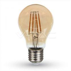 Λαμπτήρας Α60 LED v-tac Filament  μελί  Θερμό Φώς (2200K) 4W E27 230V 350lm Kώδ: 282