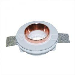 Φωτιστικό spot v-tac χωνευτό στρογγυλό λευκό-χαλκός Ø100mm γύψινο για ντουί gu10 Κωδικός : 3147