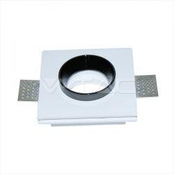 Φωτιστικό spot v-tac χωνευτό τετράγωνο λευκό-μαύρο 100Χ100mm γύψινο για ντουί gu10 Κωδικός : 3148