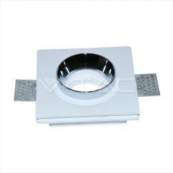 Φωτιστικό spot v-tac χωνευτό τετράγωνο λευκό-χρώμιο 100Χ100mm γύψινο για ντουί gu10 Κωδικός : 3149