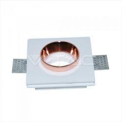 Φωτιστικό spot v-tac χωνευτό τετράγωνο λευκό-χαλκός 100Χ100mm γύψινο για ντουί gu10 Κωδικός : 3150
