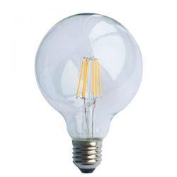 Λάμπα led filament Globe διάφανη Ø95mm Ε27 7watt 230v/ac θερμό λευκό φώς 2700k 600lumen Κωδικός : GLOBE957WW