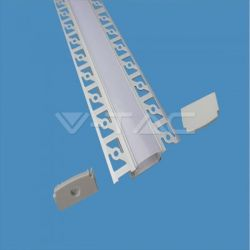 Προφίλ αλουμινίου v-tac για ταινίες LED γυψοσανίδας φαρδύ 2m Κωδικός: 3359