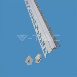 Προφίλ αλουμινίου v-tac για ταινίες LED γυψοσανίδας γωνιακό εξωτερικά 2m Κωδικός: 3361