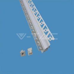 Προφίλ αλουμινίου v-tac για ταινίες LED γυψοσανίδας γωνιακό εσωτερικά 2m Κωδικός: 3362