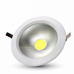 LED φωτιστικό οροφής COB 20W χωνευτό High-Lumen στρογγυλό θερμό λευκό 3000Κ φως Κωδ: 1273