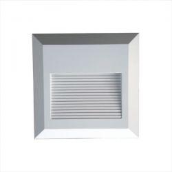Επιτοίχιο φωτιστικό LED σκάλας 2W/230v τετράγωνο λευκό 4000K φυσικό λευκό στεγανό ΙΡ65 Κωδικός: 1320