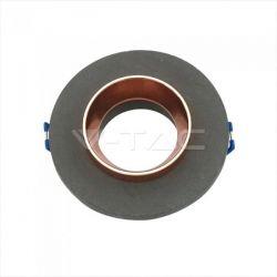 Χωνευτό φωτιστικό Spot GU10 γύψινο στρογγυλό με γκρί σώμα & ροζ χάλκινο δαχτυλίδι Κωδικός: 3124