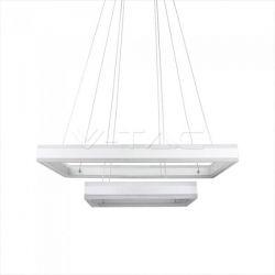 LED πολυέλαιος v-tac 115W 3000K Θερμό λευκό Dimmable με λευκό σώμα ορθογώνιος 8050lm Κωδικός: 3986