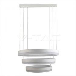 LED πολυέλαιος v-tac 80W 3000K Θερμό λευκό Dimmable με λευκό σώμα στρογγυλλό 5925lm Κωδικός: 3989