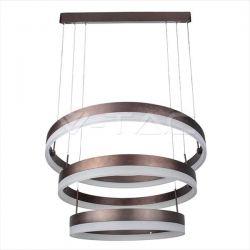 LED πολυέλαιος v-tac 80W 3000K Θερμό λευκό Dimmable με καφέ σώμα στρογγυλλό 5925lm Κωδικός: 3991