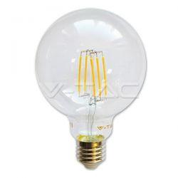 Λάμπα led filament v-tac globe διάφανη Ø125mm Ε27 12.5watt 230v/ac θερμό λευκό φώς 3000k 1550lm Κωδικός : 7453