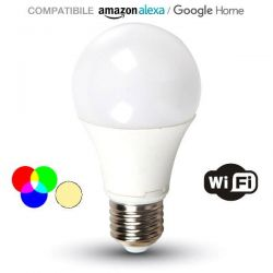 WiFi λάμπα LED v-tac E27 A60 9W RGB εναλλαγής χρωμάτων + 6400K ψυχρό λευκό φως ντιμαριζόμενη Κωδικός: 7452