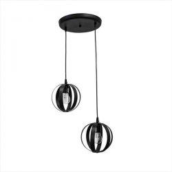 Φωτιστικό οροφής 2φ σε μαύρο Χρώμα Heronia lama/2L pendel Φ18 Κωδικός: 34-0061