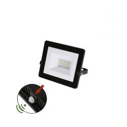 Προβολέας LED-SMD slim 20W 230V με φωτοκύτταρο 4000Κ φυσικό φως IP65 σε μαύρο χρώμα Κωδικός:   3-0302011