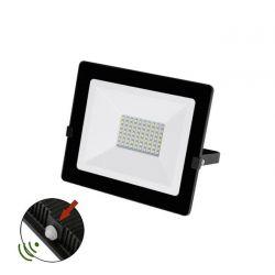 Προβολέας LED-SMD slim 50W 230V με φωτοκύτταρο 4000Κ φυσικό φως IP65 σε μαύρο χρώμα Κωδικός:   3-0305011