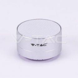 Mini ηχείο v-tac φορητό Bluetooth ασημί 400mAh Κωδικός: 7713