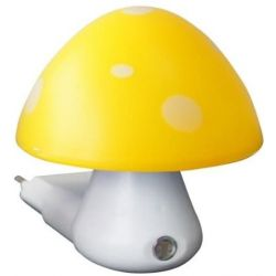 Φωτιστικό led νυκτός σε σχήμα μανιτάρι κίτρινο-λευκό με αισθητήρα ημέρας-νύκτας Aca 846LED4SY