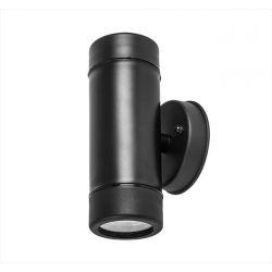 Φωτιστικό Πλαστικό Επίτοιχο Στρογγυλό Διπλής Κατεύθυνσης Μαύρο Με Ντουί GU10 IP-65  Κώδ: 3-0602101