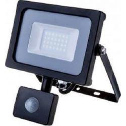 Προβολέας LED Samsung chip 20W/230v (ψυχρό λευκό 6400Κ) μαύρο σώμα με ανιχνευτή κίνησης V-TAC Κωδ: 453
