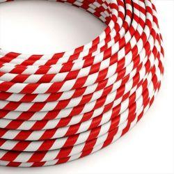 Στρόγγυλο Υφασμάτινο Καλώδιο Vertigo HD ERM39 Candy Cane Λευκό Κόκκινο Κωδικός: ERM39