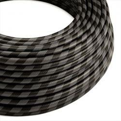 Στρόγγυλο Υφασμάτινο Καλώδιο Vertigo HD ERM54 Μαύρο Ανθρακί Πλατιά Ρίγα Κωδικός: ERM54