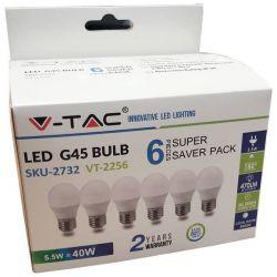 Λάμπα LED E27 G45 SMD 5.5W ψυχρό λευκό 6400K συσκευασία 6 τμχ Κωδικός: 2732