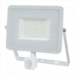 Προβολέας LED Samsung chip 50W Θερμό λευκό 3000K Λευκό σώμα με ανιχνευτή Κωδικός: 466