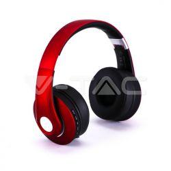 Bluetooth ασύρματα ακουστικά, σε κόκκινο χρώμα – 500mah με ρυθμιζόμενο διπλό headband για άνετη εφαρμογή γύρω από το κεφάλι Κωδικός: 7731