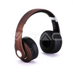 Bluetooth ασύρματα ακουστικά, σε καφέ χρώμα – 500mah με ρυθμιζόμενο διπλό headband για άνετη εφαρμογή γύρω από το κεφάλι Κωδικός: 7732