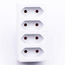 Πολύπριζο σούκο τοίχου με 4 εξόδους απλές σε λευκό σώμα Κωδικός: 8785