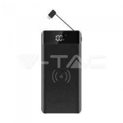 Wireless Power Bank 20000mAh με μαύρο σώμα και ενσωματωμένο καλώδιο micro USB Κωδικός: 8859