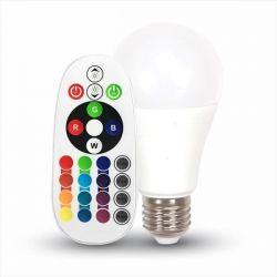 Έξυπνη λάμπα LED E27 Α60 SMD 9W RGB + ψυχρό λευκό, με ασύρματο χειριστήριο – Ντιμάρεται Κωδικός: 2768