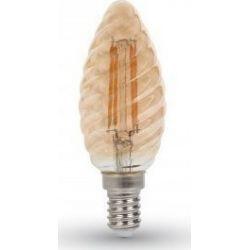 Λάμπα Led E14 Κερί Filament 4W Θερμό λευκό 2200K Γυαλί amber - Vtac 7115