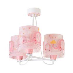Φωτιστικό Οροφής Παιδικό Τρίφωτο Elephant Pink 61337S - Ango