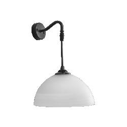 Απλίκα τοίχου μονόφωτη από μαύρο μέταλλο και άσπρο γυαλί Ø22 S-1020AP BL-WH - Heronia Lighting 02-0228