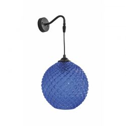 Απλίκα τοίχου μονόφωτη από μαύρο μέταλλο και μπλε γυαλί Ø20 S-5010/20AP BLUE - Heronia Lighting 02-0227