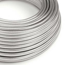 Στρόγγυλο Υφασμάτινο Καλώδιο Ορείχαλκος 3x0.75 Ασημί - Creative Cables N301RR12