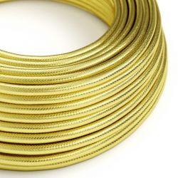 Στρόγγυλο Υφασμάτινο Καλώδιο Ορείχαλκος 3x0.75 Χρυσό - Creative Cables N301RR13