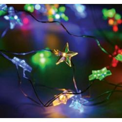 Led Διακοσμητικά Λαμπάκια Μπαταρίας Αστέρι Πλαστικό Διάφανο 20 Mini Leds RGB & Yellow IP20 σε Ασημί Καλώδιο Χαλκού 200+10cm X01203112 - Aca
